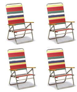 High Boy Folding Beach Chair by Telescope - Set of 4