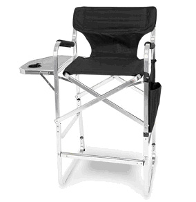 Aluminum 30 inch Bar Height Directors Chair with Table & Side Bag