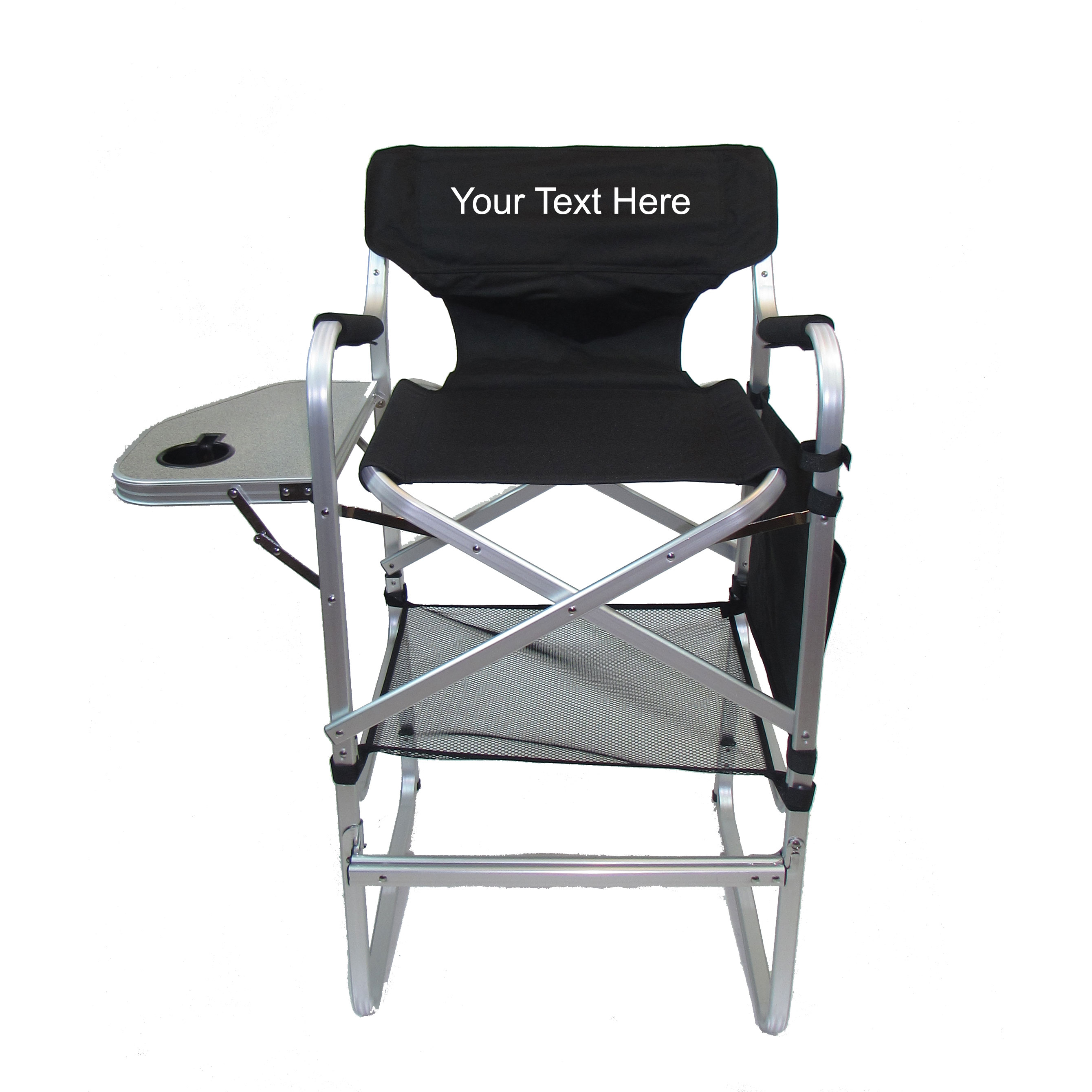 """IMPRINTED Personalized Aluminum 30"""" Bar Height Directors Chair with Table & Side Bag"""