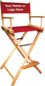 EMBROIDERED Personalized 30 inch Bar Height COMMERCIAL Directors Chair