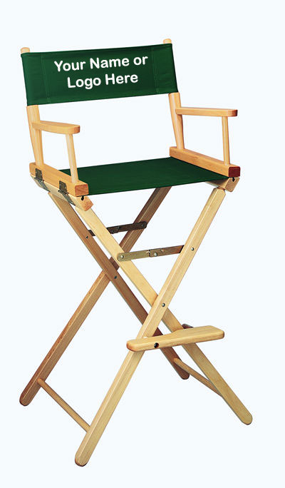 IMPRINTED Personalized 30 inch Bar Height CONTEMPORARY Directors Chair
