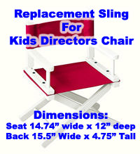 Gold Medal Kids Directors Chair Replacement Canvas Set (Embroidery Optional)